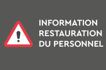 COVID-19 : Information restauration du personnel